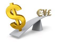 Le dollar pèse dedans contre d'autres devises Images stock