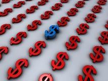 Le dollar signe dedans le rouge avec un seul dans le bleu Images stock
