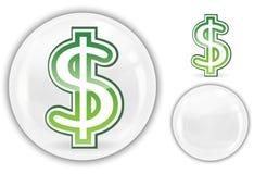 Le dollar signent dedans la bille de marbre en cristal blanche Photos stock