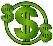 Le dollar vert signe dedans un cercle Images stock