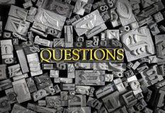 Le domande hanno spiegato nelle lettere del metallo immagini stock libere da diritti
