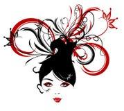 Le donne astratte amano l'illustrazione dei fiori   Fotografia Stock