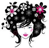 Le donne astratte amano l'illustrazione dei fiori   Immagine Stock