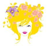 Le donne astratte amano l'illustrazione dei fiori   Fotografia Stock Libera da Diritti