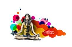 Le donne che praticano l'yoga posano - 21 giugno il giorno internazionale di yoga Immagine Stock Libera da Diritti