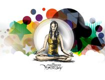 Le donne che praticano l'yoga posano - 21 giugno il giorno internazionale di yoga Immagini Stock