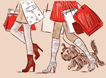 Le donne delle città vanno a fare spese Immagine Stock Libera da Diritti
