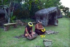 Le donne di Islander del cuoco lavora all'aperto in un villaggio maori nel livello fotografie stock libere da diritti