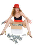 Le donne e una casella con soldi Fotografia Stock Libera da Diritti