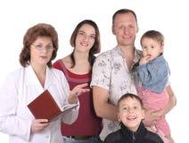 Le donne falsificano e famiglia felice Fotografia Stock Libera da Diritti