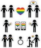 Le donne gay che si innamorano e le icone di impegno hanno messo con l'elemento dell'arcobaleno Immagini Stock Libere da Diritti