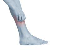 Le donne graffiano la gamba itchy con la mano. Immagini Stock