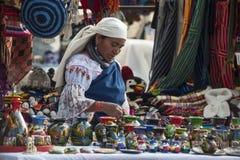 Le donne indiane in vestiti nazionali vende i prodotti del suo weavi Immagine Stock