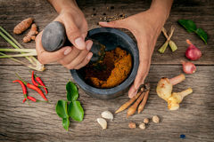 Le donne tengono il pestello con il ingr rosso della pasta di curry della spezia e del mortaio Fotografia Stock