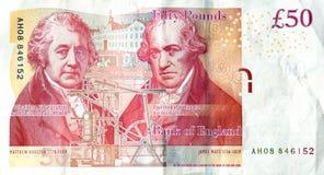Le dos d'un £50 Image libre de droits