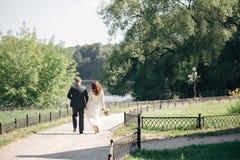 Le dos de jeunes mariés dans la forêt Image libre de droits