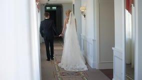 Le dos de jeunes mariés entre dans l'hôtel clips vidéos