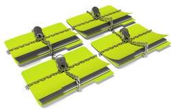 Le dossier avec la chaîne et le cadenas, données cachées, la sécurité, 3d rendent Images stock