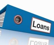 Le dossier de prêts contient des écritures de emprunt ou de prêt Image libre de droits