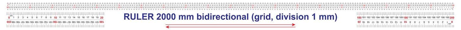 Le double bidirectionnel de r?gle a d?grossi 2000 millim?tres, 200 centim?tres, 2 m?tres r