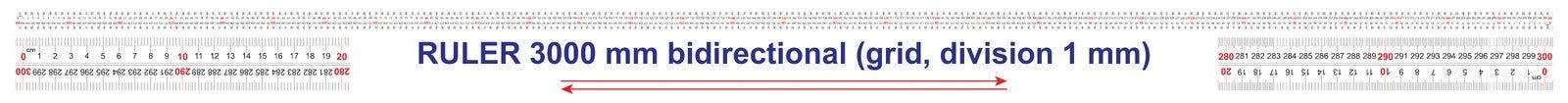 Le double bidirectionnel de r?gle a d?grossi 3000 millim?tres, 300 centim?tres, 3 m?tres r