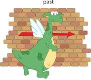 Le dragon de bande dessinée dépasse le mur de briques Grammaire anglaise dans le pict Images libres de droits