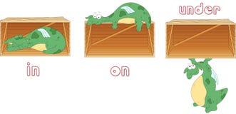 Le dragon de bande dessinée dort dans une boîte, se trouve sur une boîte et se tient sous a