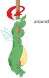Le dragon de bande dessinée tord autour le poteau Grammaire anglaise dans le pictur Images libres de droits