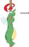 Le dragon de bande dessinée tord autour le poteau Grammaire anglaise dans le pictur Image libre de droits