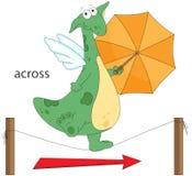 Le dragon de bande dessinée va à travers la la corde Grammaire anglaise dans le pict Photographie stock