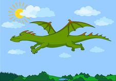 Le dragon féerique vert vole dans le ciel bleu Image stock