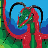 Le dragon rouge avec les klaxons tordus Images stock