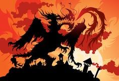 Le dragon a saisi la vieille ville Image libre de droits