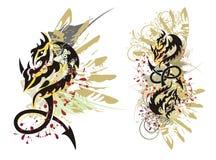 Le dragon tribal éclabousse Images libres de droits