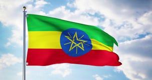 Le drapeau éthiopien ondulant dans le vent montre le symbole de l'Ethiopie du patriotisme - 4k 3d rendre banque de vidéos