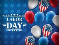 Le drapeau américain de ondulation avec la Fête du travail de typographie, le 7 septembre, a uni l'état de l'Amérique, conception Images libres de droits