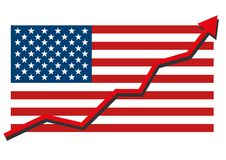Le drapeau américain des Etats-Unis avec le graphique rouge de flèche allant montrer l'économie forte et les actions se lèvent Bé Photos stock