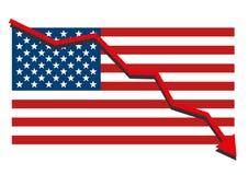 Le drapeau américain des Etats-Unis avec le graphique rouge de flèche descendant montrer la récession d'économie et les actions t Images stock