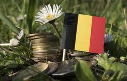 Le drapeau belge avec la pile d'argent invente avec l'herbe image stock