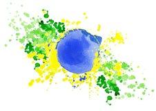 Le drapeau brésilien fait en coloré éclabousse Image libre de droits
