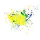 Le drapeau brésilien fait en coloré éclabousse Photographie stock libre de droits