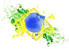 Le drapeau brésilien fait en coloré éclabousse Images stock