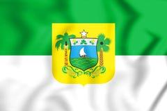 le drapeau 3D de Rio Grande font Sul, Brésil Photos libres de droits