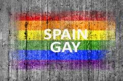 Le drapeau d'HOMOSEXUEL et de LGBT de l'Espagne peint sur le fond donnent au béton une consistance rugueuse gris Photos stock