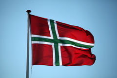 Le drapeau de Bornholm - île danoise en mer baltique Photos libres de droits