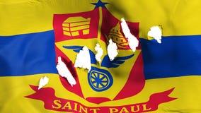 Le drapeau de capitale de Saint Paul a perforé, des trous de balle illustration stock