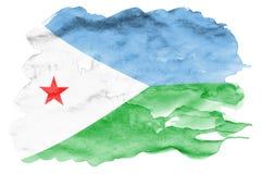 Le drapeau de Djibouti est dépeint dans le style liquide d'aquarelle d'isolement sur le fond blanc photo stock