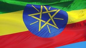Le drapeau de l'Ethiopie dans le mouvement lent a sans problème fait une boucle avec l'alpha clips vidéos