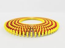 le drapeau de l'illustration 3D de la Catalogne a fait de petits hommes marchant en cercle Images stock