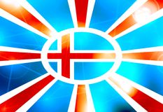 Le drapeau de l'Islande sur le soleil rayonne le contexte Image libre de droits